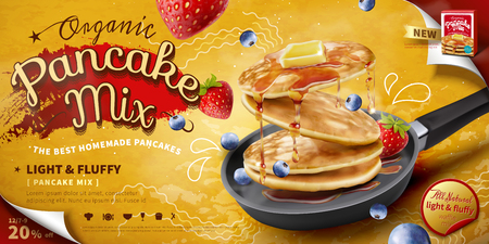Delicious fluffy pancake in frying pan, fresh fruit and honey toppings in 3d illustration, food ad banner or poster