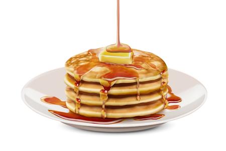Deliciosos panqueques esponjosos con coberturas de mantequilla de miel en la ilustración 3d, fondo blanco. Ilustración de vector
