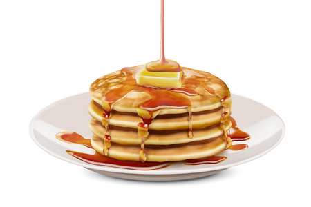 Delicious fluffy pancake with honey butter toppings in 3d illustration, white background Çizim