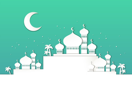 Islamic holiday design with mosque scenery in paper art style Stock Vector - 114831435