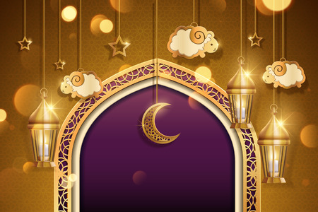 Eid al adha design with hanging sheep and lanterns in 3d illustration, golden and purple tone