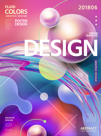 Abstract fluid colors poster design in fuchsia tone with swirling liquid shape and glossy spheres, 3d illustration Illustration