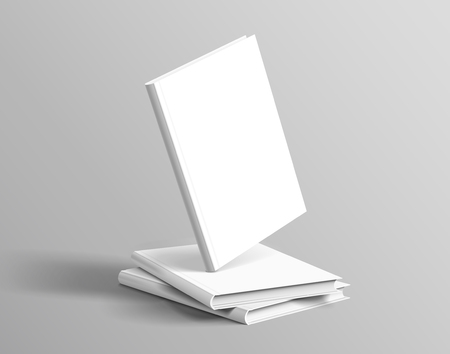Hardcover books set floating on grey background in 3d illustration Vectores