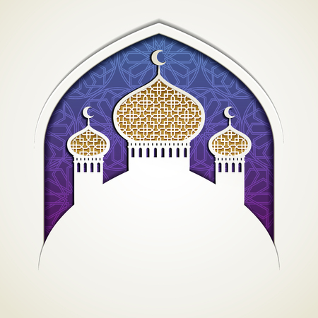 Islamic holiday design with mosque onion dome in paper art style