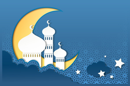 Islamic holiday design with mosque upon the sky in paper art style Illustration