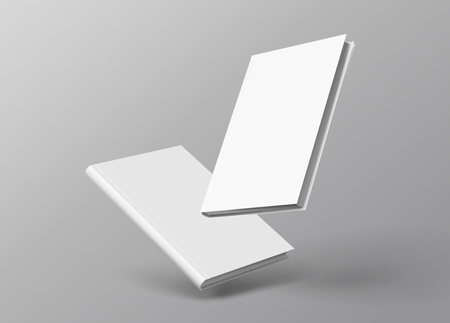 Conjunto de libros de tapa dura flotando sobre fondo gris en la ilustración 3d Ilustración de vector