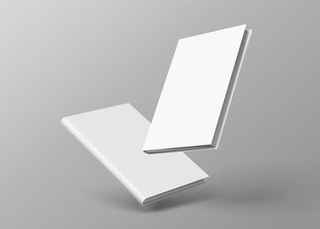 Hardcover boeken geplaatst drijvend op een grijze achtergrond in 3d illustratie Vector Illustratie