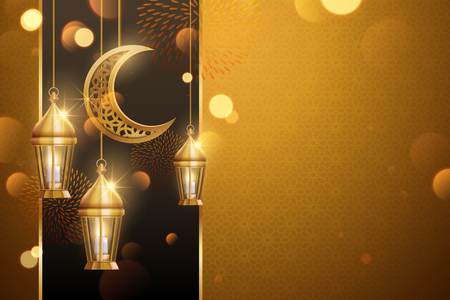 Islamic holiday background design with copy space and golden lanterns, crescent elements in 3d illustration Illustration