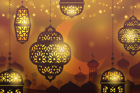 Islamic holiday design with hanging lanterns on mosque silhouette background
