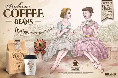 Coffee beans ads with retro women having afternoon tea together in hand drawn style, takeaway cup and paper bag in 3d illustration