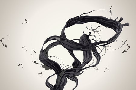 Swirling dark ink in 3d illustration on beige background