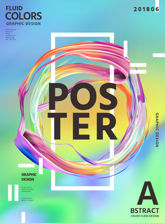Abstract fluid colors poster design with circular wavy liquid shape on hologram color background in 3d illustration