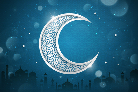 Islamic holiday background design with carved crescent on glitter blue background, mosque silhouette elements