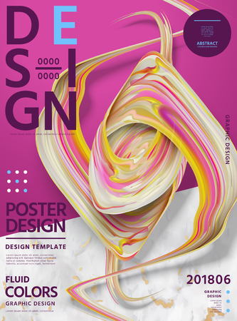 Abstract fluid colors poster design with swirling liquid shape on fuchsia and marble stone background, 3d illustration