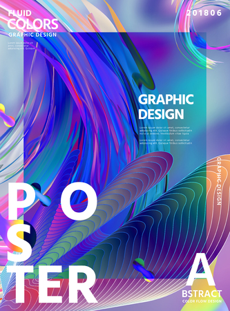 Abstract fluid colors poster design with wavy liquid shape on hologram color background in 3d illustration Imagens - 105023819