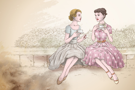 Retro women having afternoon tea together in the garden, hand drawn style beige background  イラスト・ベクター素材