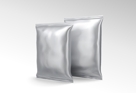 Silver foil pack for design uses in 3d illustration Illustration