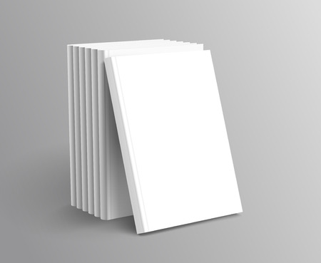 Hardcover books set standing on grey background in 3d illustration