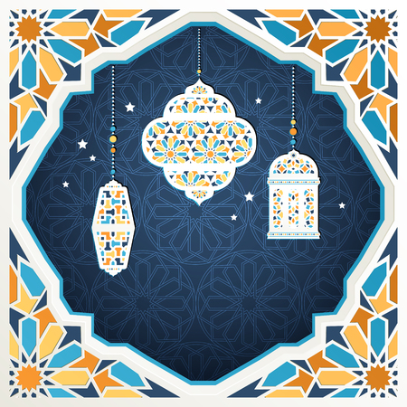 Islamic holiday design with hanging lanterns and frame in mosaic style 矢量图像