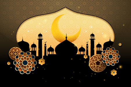 Islamic holiday background design with mosque onion dome silhouette and floral paper art designs