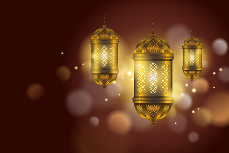Islamic holiday design with hanging golden lanterns on bokeh background