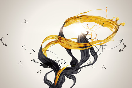 Splashing golden and black liquid in 3d illustration Imagens - 114831465