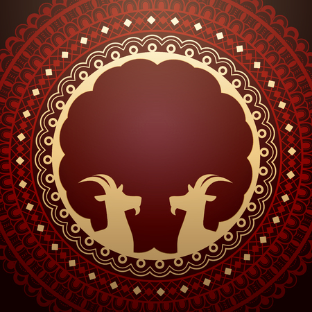 Eid al adha design with red round totem and goat silhouette