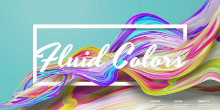 Abstract fluid colors banner design in 3d illustration