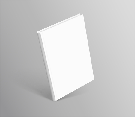 Hardcover book standing on grey background in 3d illustration Illustration