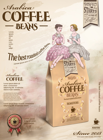 Coffee beans ads with retro women having afternoon tea together in hand drawn style, sitting on 3d illustration paper bag