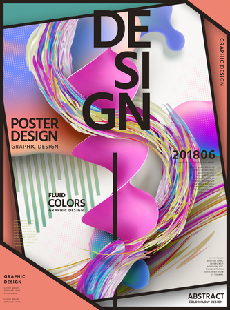 Abstract fluid colors poster design with swirl liquid shape on geometric background in 3d illustration