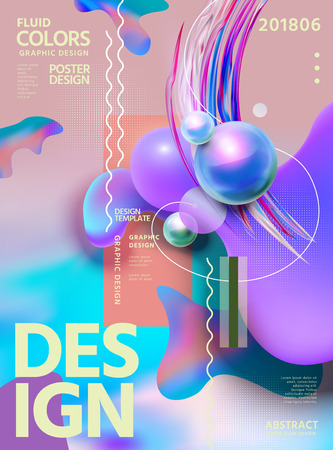 Abstract fluid colors poster design with swirling liquid shape and glossy spheres, 3d illustration