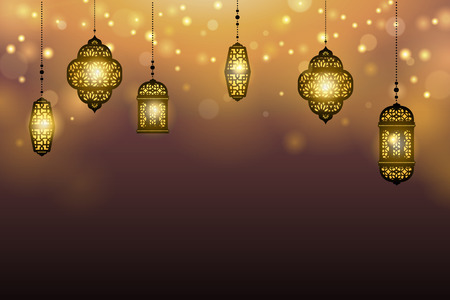 Islamic holiday design with hanging lanterns on bokeh background