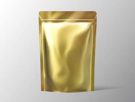 Golden color foil pack for design uses in 3d illustration Archivio Fotografico - 114831476