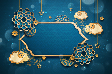 Eid al adha design with hanging sheep and floral pattern in paper art, blue bokeh background