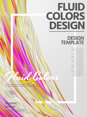 Abstract fluid colors poster design with liquid shape smear on light grey background in 3d illustration