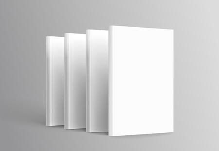 Hardcover books set standing on grey background in 3d illustration