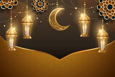 Islamic holiday background design with golden lanterns and crescent elements, golden and brown tone in 3d illustration
