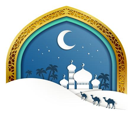 Design vacanza islamica con scenario di moschea in stile art paper