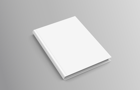 Hardcover book on grey background in 3d illustration