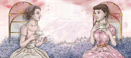 Retro women having afternoon tea together in the garden, hand drawn style watercolor background in pink and purple