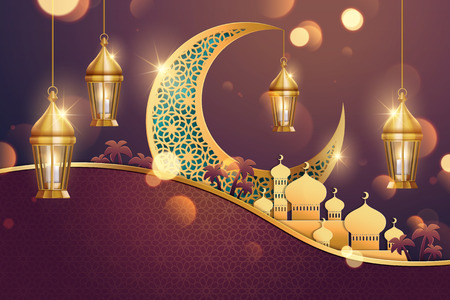 Islamic holiday background design with carved moon and mosque in paper art, 3d illustration Ilustração