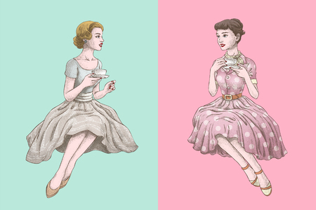 Retro women having afternoon tea together in hand drawn style on bright turquoise and pink background