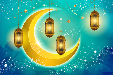 Islamic holiday design with hanging lanterns and yellow crescent on blue glitter background