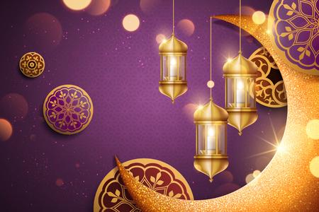 Ontwerp van de achtergrond van de islamitische vakantie met glimmer gouden halve maan en lantaarn elementen in 3d illustratie, paarse achtergrond Vector Illustratie