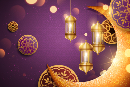 Islamic holiday background design with glimmer golden crescent and lantern elements in 3d illustration, purple background