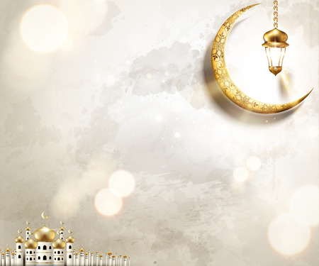 Arabic holiday design with mosque and golden crescent on pearl white background, 3d illustration