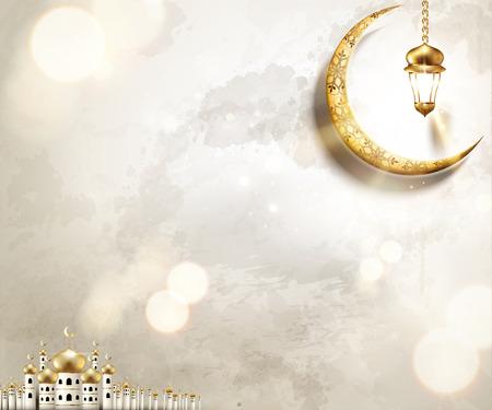 Arabisches Feiertagsdesign mit Moschee und goldenem Halbmond auf perlweißem Hintergrund, 3D-Darstellung