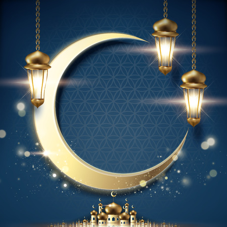 Arabic holiday design with glowing golden lanterns and giant crescent on blue night background, 3d illustration