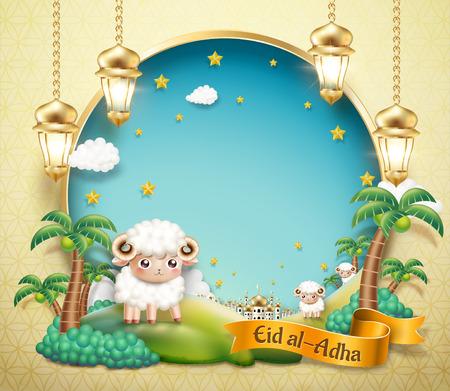 Conception de l'Aïd Al Adha avec de beaux moutons dans une oasis avec un espace de copie de ciel bleu pour les mots de voeux en illustration 3d